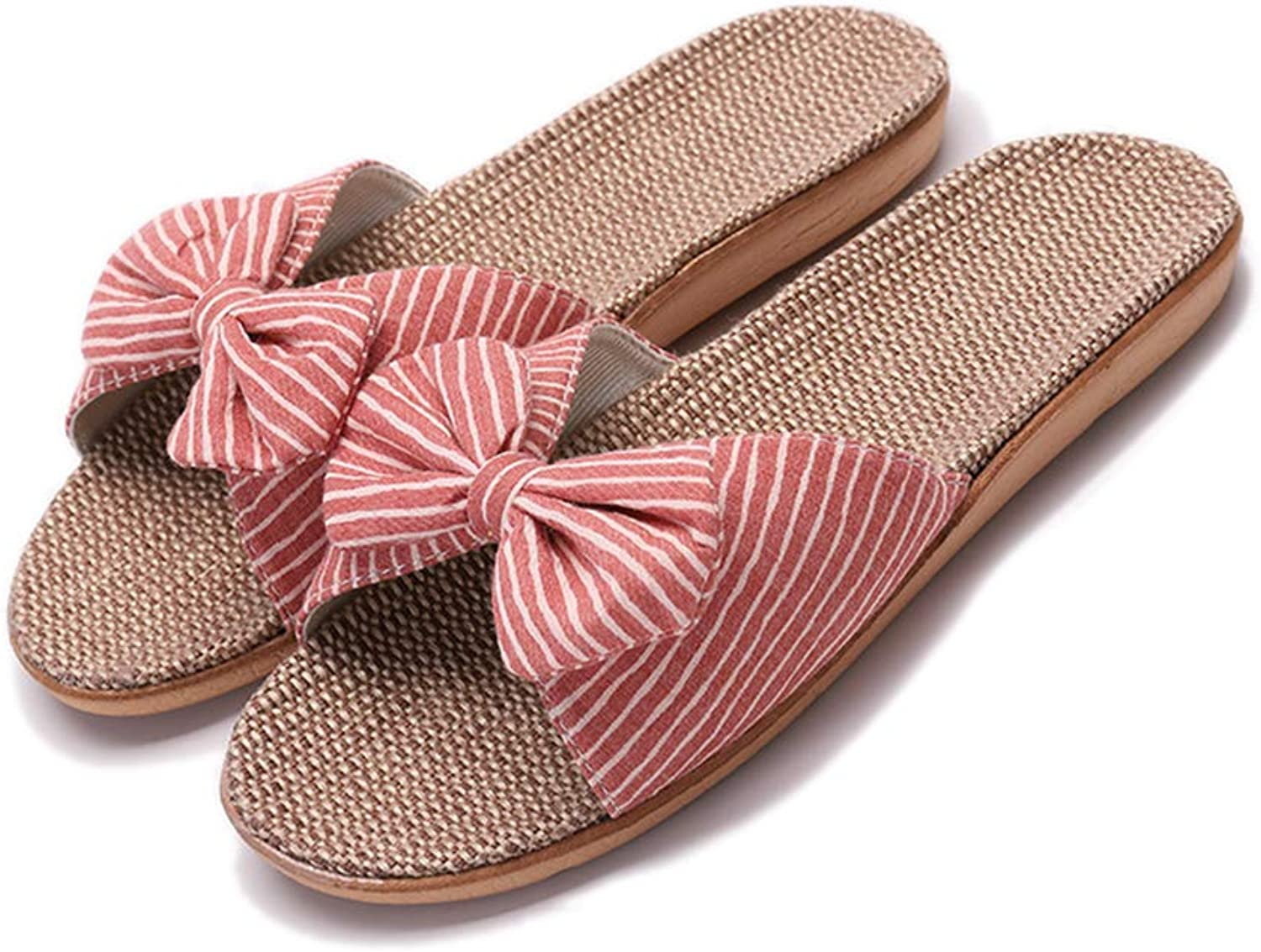 Womens Linen Slippers Non-Slip Casual Sandals, Open Toe Flax Slipper in Summer Home,Red