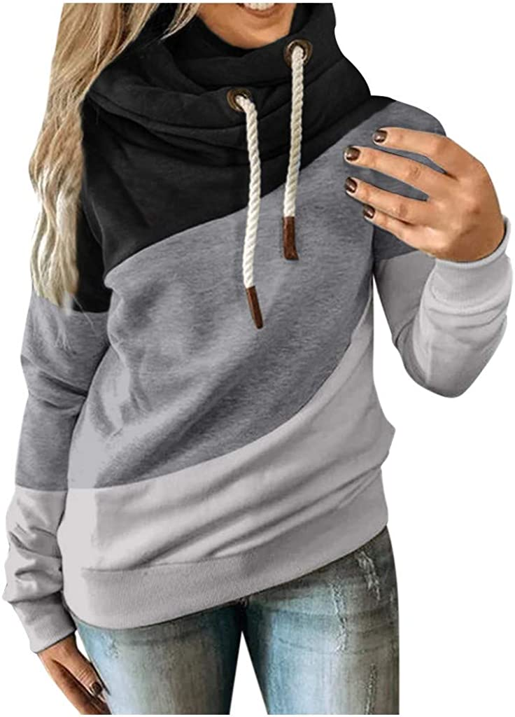 MmNote Womens Cowl Neck Color Block Striped Tunic Sweatshirt Drawstring Pullover Long Sleeve Hoodie Casual Tops