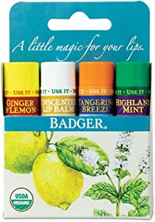 Badger - Classic Lip Balm Blue Box, Variety 4-Pack, With Aloe, Extra Virgin Olive Oil, Beeswax & Essential Oils, Natural M...