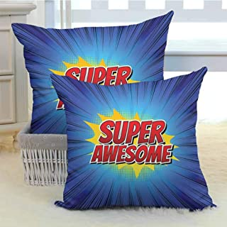DuckBaby Motivational Pillowcase Hug Pillowcase Cushion Pillow Comic Book Design with Half Tone and Lines Background Super Awesome Quote Protect The Waist W24 x L24 inch x 2 Red Blue Yellow