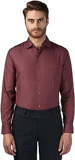 Park Avenue Full Sleeve Regular Collar Regular Fit Dark Maroon Cotton Self Design Shirt for Men