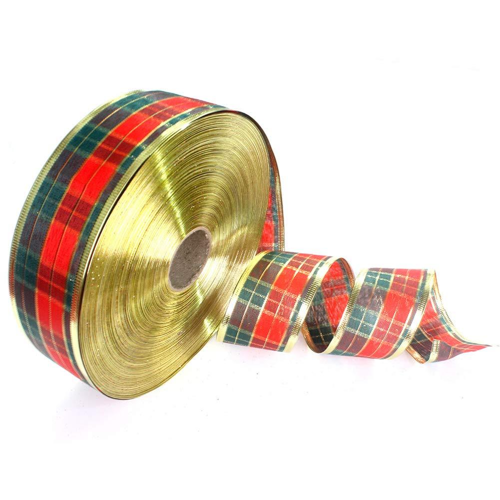 DDG EDMMS 1 Rollo de Papel Trenzado de Navidad, Cinta, Cinta de Tela, Manualidades de Boda, Embalaje de Regalo de 5 x 2 cm: Amazon.es: Hogar