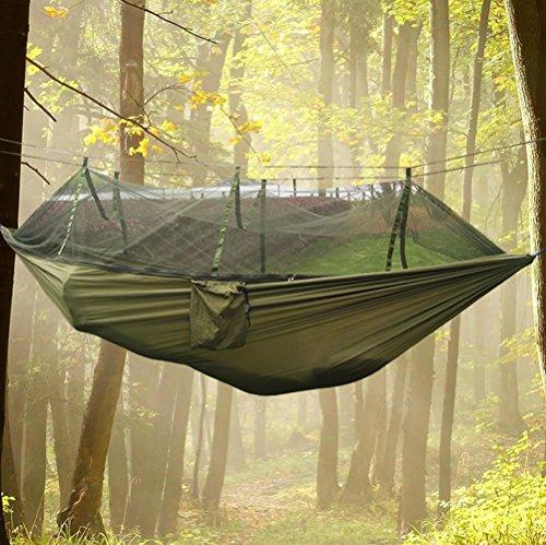 OYYTY Outdoor Hamac de Voyage avec moustiquaire Ultra Light 2.6 * 1.4 m Tapis de 150 kg avec Fixation pour Voyage, Camping, Jardin, Trekking, Plage, de Voyage Hammock