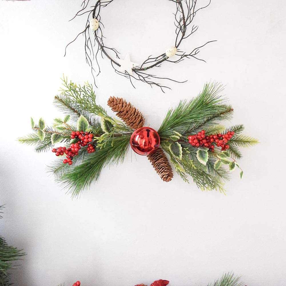 Green Pine Christmas Hanging Ornament for Wall Front Door Festival Decor Red Berries Decoration Swag with Poinsettia Flower WDDH Artificial Christmas Swag