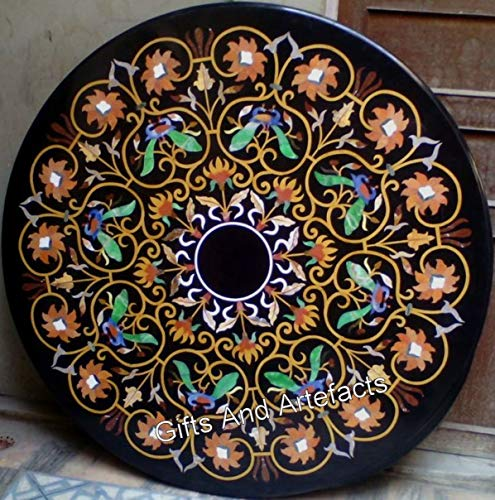 Mesa de comedor de mármol negro Pietra Dura Art patrón pasillo mesa superior perfecta decoración muebles de 48 pulgadas