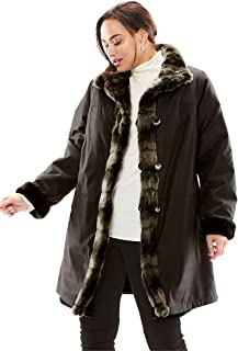 20c855037ff Jessica London Women s Plus Size Reversible Faux Fur   Shearling Storm Coat