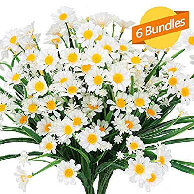 ArtBloom 6 Bundles Outdoor Artificial Daisies Fake Flowers UV Resistant Shrubs, Faux Plastic Greenery for Indoor Outside Hanging Plants Garden Porch Window Box Home Wedding Farmhouse Decor (White)