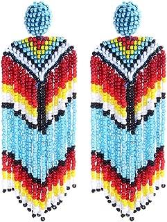 Beaded Earrings Oversized Handmade Seed Beaded Drop Earrings Long Beaded Navajo Indian Dangle Earrings for Women Ladies