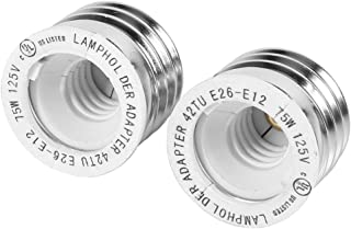 2pcs YiLighting - UL-listed Medium Edison Screw (E26/E27) to Candelabra Screw (E12) Light Bulb Socket Adapter Converter Reducer (E26/E27 to E12)