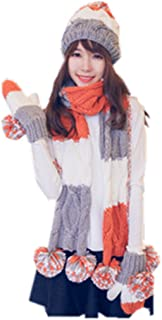 ALLDECOR Women Winter Warm Knitted Hat/Scarf/Gloves Sets Cold Weather 3pcs