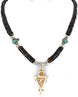 Certified Authentic Arrowhead Navajo .925 Sterling Silver Natural Heishi Turquoise Bone Native American Necklace
