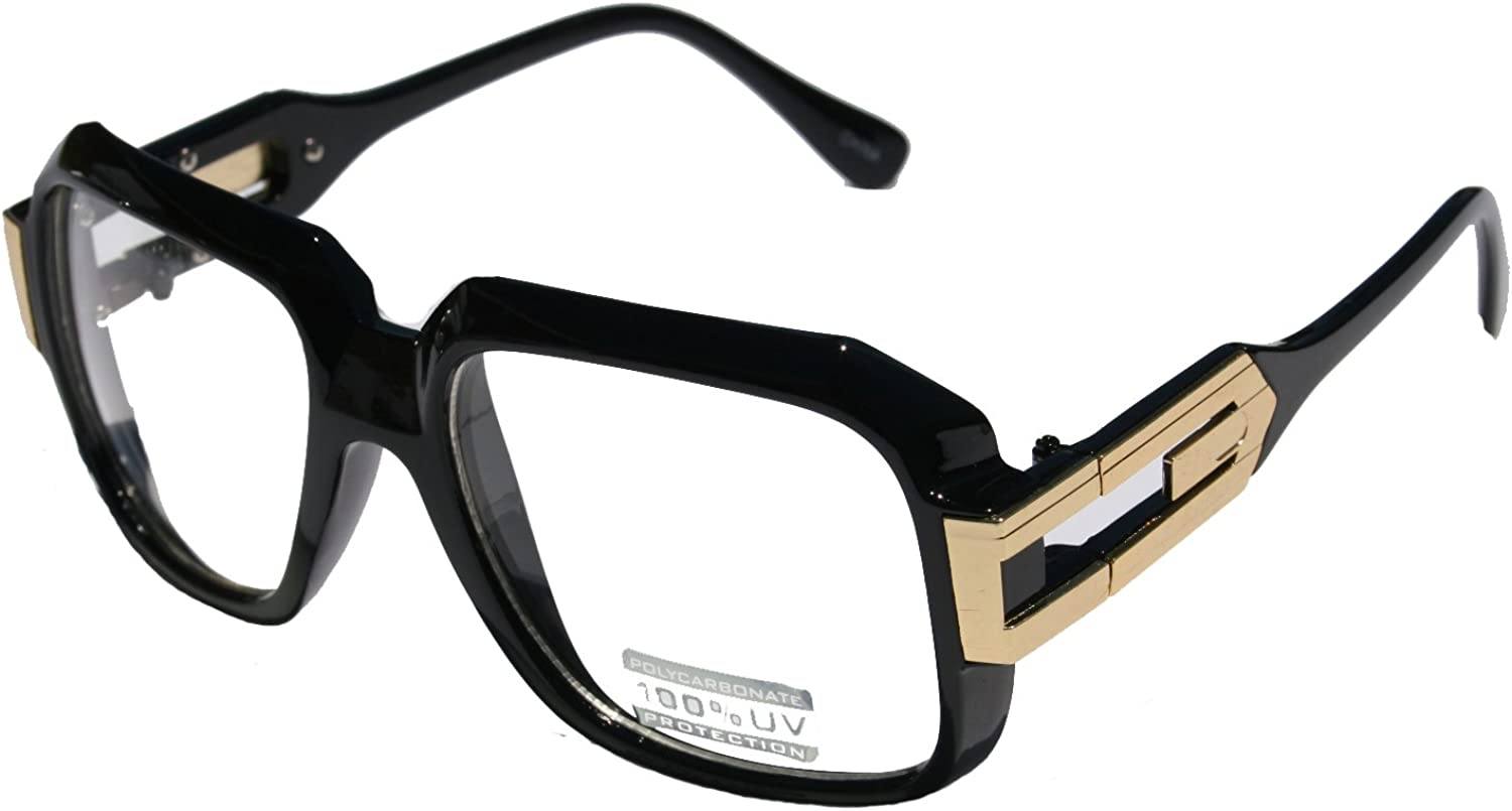 Large Classic Retro Square Frame Clear Lens Glasses with Gold Accent