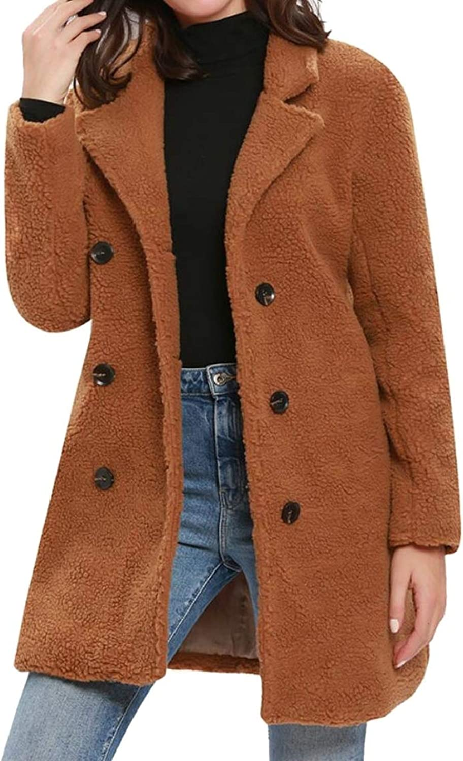 QDCACA Womens Winter Double Breasted Fleece Mid Long Length Overcoat Trench Coat