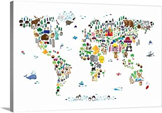 Animal Map of The World for Children, White Canvas Wall Art Print, 48