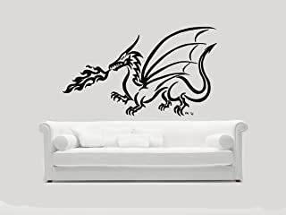Wall Vinyl Stickers Fire Breathing Dragon Decals Tribal Tattoo Design Decals Home Decor Art Image DB0072