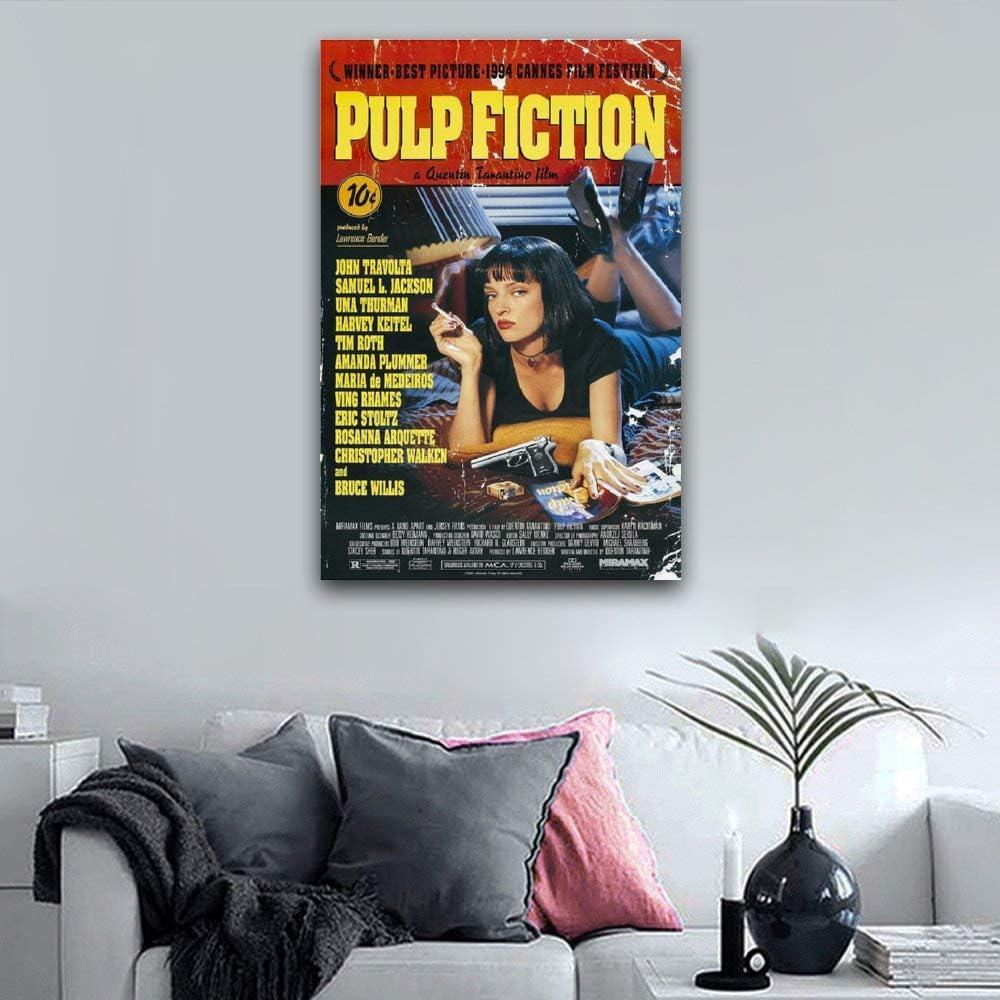 30 x 45 cm oficina gimnasios pinturas para dormitorio WPQL P/óster cl/ásico de la pel/ícula Tarantino de Pulp Fiction impreso en lienzo para decoraci/ón del hogar
