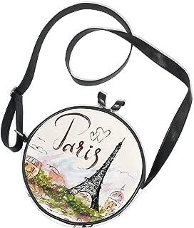 ALAZA Art Paris Eiffel Tower Painting Round Crossbody Bag Canvas Messenger Purse