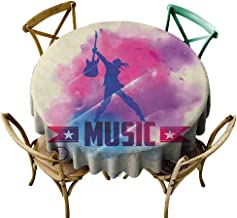 Wendell Joshua Round Outdoor Tablecloth 54 inch Teen Room,Rock Star with Guitar Inside Watercolor Cloud with Musical Quote Print, Cream Pink Purple Kitchen Dining Room Restaurant Party Decoration