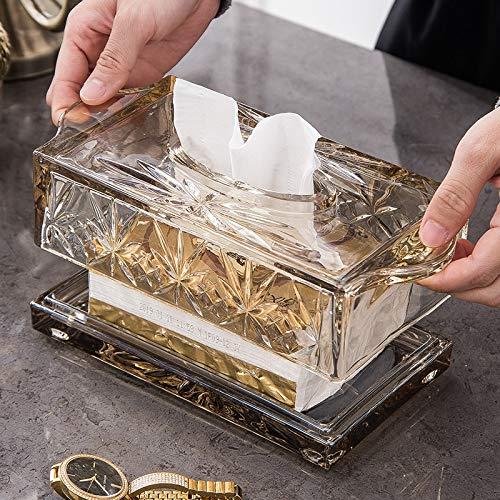 epoxios Caja de pañuelos de lujo para el hogar del coche Contenedor de toallas de servilleta dispensador de pañuelos de papel de lujo de mesa de vidrio titular de servilletas
