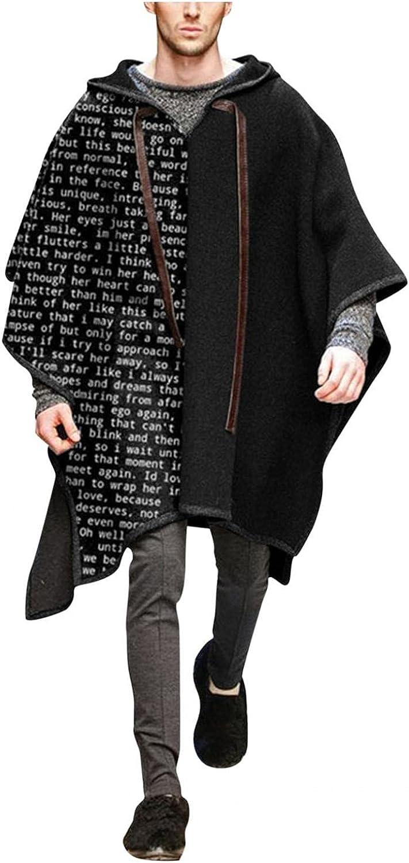 Qsctys Mens Cloak Shawl Poncho Casual Fashion Comfortable Clothes for Men Coat Alpaca Hooded Sweatshirts Print Windbreaker