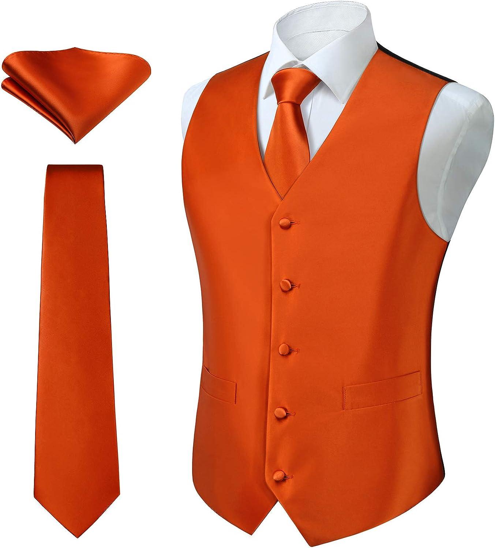 HISDERN 3pc Men's Paisley Floral Jacquard Vest Suit & Necktie and Pocket Square Set Waistcoat for Tuxedo Wedding Party