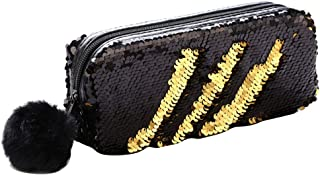 Meerjungfrau Pailletten Kosmetiktasche, DIY Reversible Glitter Make-up Handtasche Mäppchen Geldbörse funkelnde glänzende Abend Party Taschen mit Plüsch Pom Pom für Frauen Mädchen,Schwarzes Gold