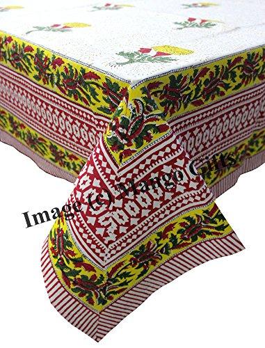 Mango-Gifts Nappe Indien Main Bloc Imprimé Housse 100% Coton Floral 150 * 220 cm
