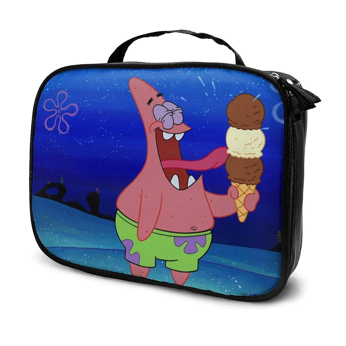裏切り者砦完全にDaituパトリックスターがアイスクリームを食べる 化粧品袋の女性旅行バッグ収納大容量防水アクセサリー旅行