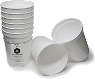 Rolling Sands 16 Ounce Reusable Plastic Stadium Cups White, 8 Pack, Made in USA, BPA-Free Dishwasher Safe Plastic Tumblers