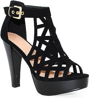 Open Toe Ankle Strap Sandal – Western Bootie Stacked Heel Open Toe Cutout Shoes