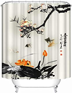 SPXUBZ Orange and Black Koi Spa Decor Kin by Nicola Zen Garden Theme Decor View for Magical and Luxuriousroom Shower Curtain Waterproof Bathroom Decor Polyester Fabric Curtain Sets with Hooks