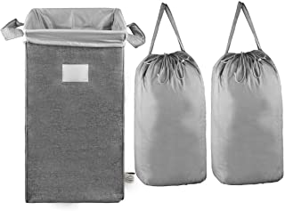 MCleanPin Large Laundry Hamper Collapsible with 2 Removeable Laundry Bags & Sorting Card, Dirty Clothes Hamper Durable Linen, 2 Handles Foldable Hamper Dorm Room Storage for College,Grey