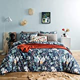 SUSYBAO 3 Piece Duvet Cover Set 100% Egyptian Cotton King Size Multi-Colored Leaves Floral Bedding Set 1 Squirrel Print Duvet Cover with Zipper Ties 2 Pillowcases Hotel Quality Super Soft Breathable