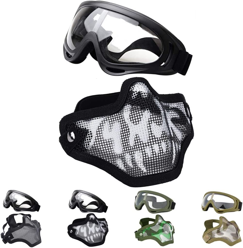 Outgeek Airsoft Half Face Mask Memphis Mall sold out and Mesh Goggles Set Steel
