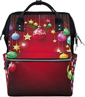 Laptop Backpack, Christmas Balls Hanging with Golden Snowflakes Star Diaper Bag Backpack Travel Backpack for Women and Men