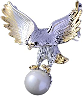 Eagle Brooch Men Womens Imitation Pearl Eagle Badges Pin Wedding Party Brooches with A Gift Box