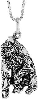 Sterling Silver Silverback Gorilla Pendant, 3/4 inch