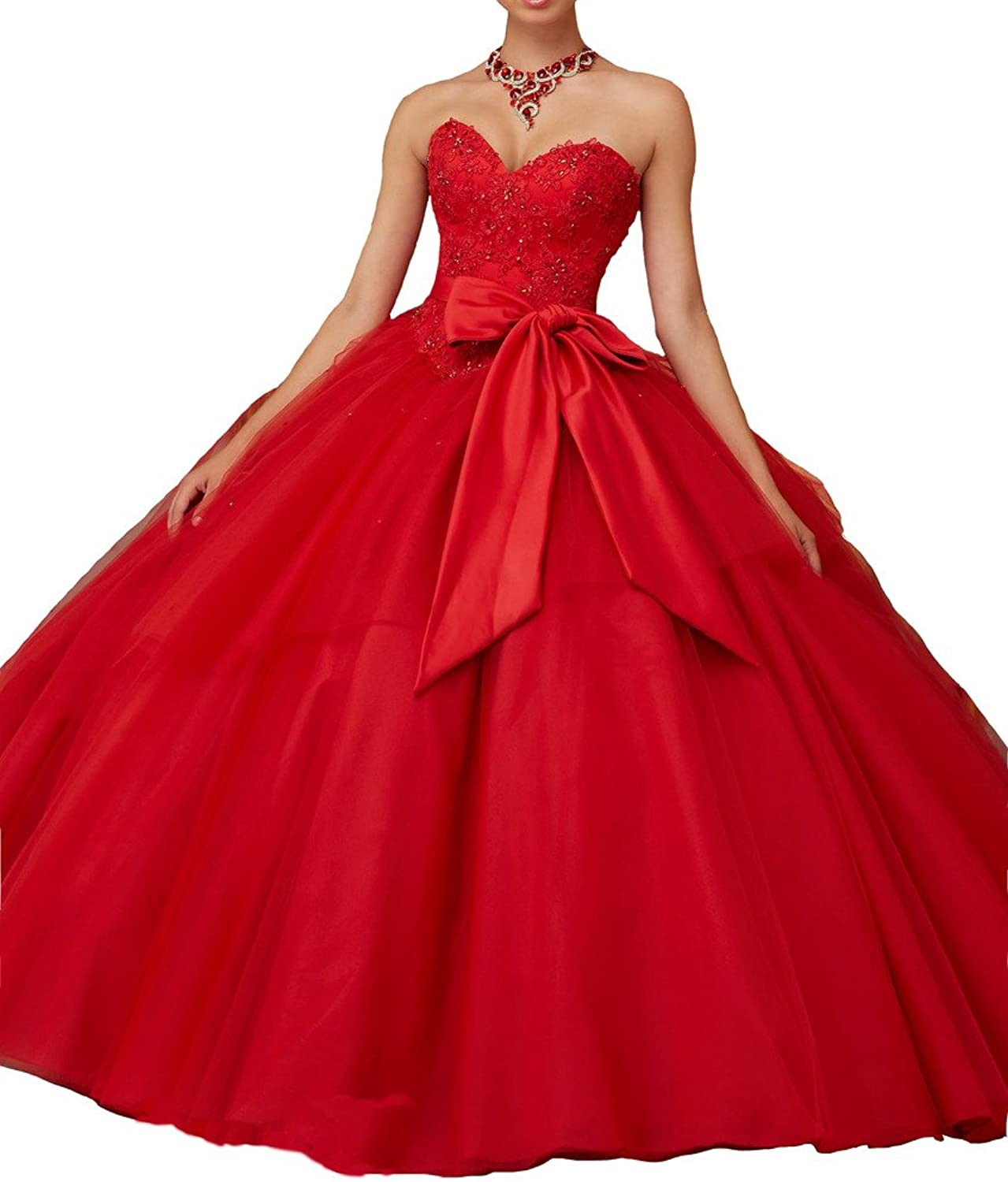 Jurong Women's Strapless Beads Bow Tie Red Carpet Ball Quinceanera Dresses