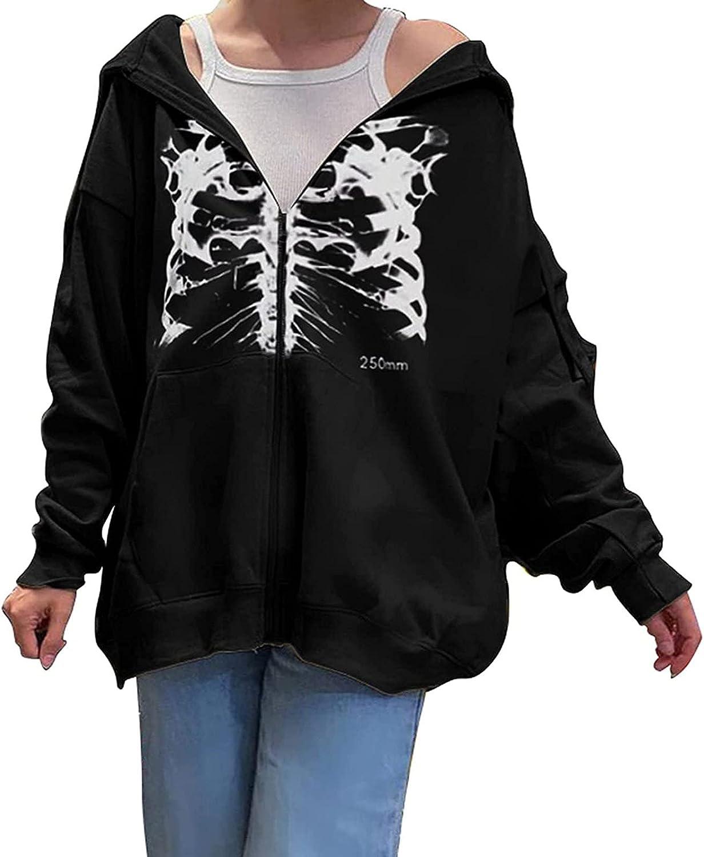 FIRERO Y2K Sweatshirt Women Vintage Graphic Print Zip Up Long Sleeve Casual Hoodie Jacket with Pocket