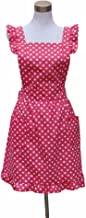 Hyzrz Hot Lovely Girls Red Dot Kitchen Flirty Canvas Restaurant Cake Apron for Women Chef Bib (Red)