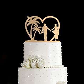 Ocean Wedding Cake Topper,Hawaii Wedding Cake Topper,Palm Tree Wedding Cake Topper,Tropical Wedding Cake Topper,Travel Cake Topper