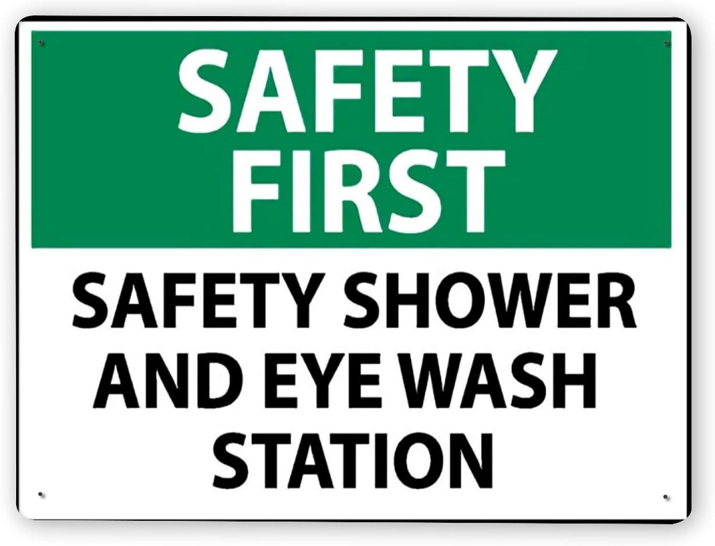 Señal de advertencia,LA SEGURIDAD ES PRIMERO Estación de ducha y lavaojos de seguridad,Señal de advertencia de tráfico de pintura de decoración de metal de aluminio de estaño 12x16 Inch