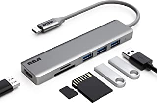 USB C Hub, RCA USB C Adapter, 4K USB C to HDMI, 3 USB 3.0 Ports, SD/TF Card Readers, Compatible with MacBook Pro, Chromebook, XPS, Laptop and More USB Type C Devices