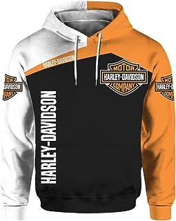 Felpa con Cappuccio Manica Lunga Unisex 3D Digital International Harley Davidson Logo Print Sweatshirt Felpa Casual
