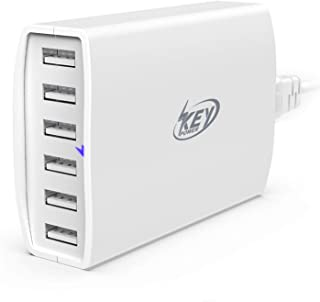Key Power USB Wall Charger, 60 Watt 12A 6-Port Charging Station for Apple iPhone Xs/Max/XR/X/ 8/7 Plus, iPad Pro/Air Mini/Samsung Galaxy S9/S8/S7/S6 Edge and More