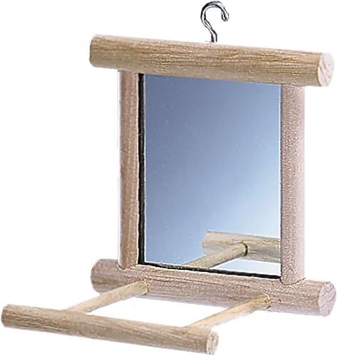 Nobby Miroir avec Perchoir en Bois pour Oiseau 10 x 10 cm