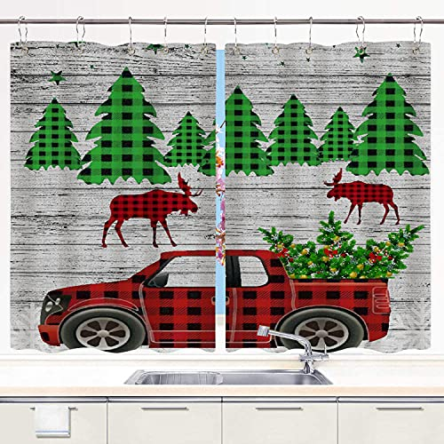 BOKEKANG kitchen curtains,Christmas Tree Red Plaids Checkered Pickup Truck Rustic Wooden Boards,Cafe Curtain Kitchen Window Treatment Sets Home Decor with Hooks,55'Wx39'L,2 Panels