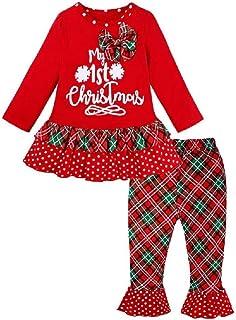 Hooyi Conjunto de tela de manga larga para niña con diseño de reno de primera Navidad con rayas y pantalones rojos.