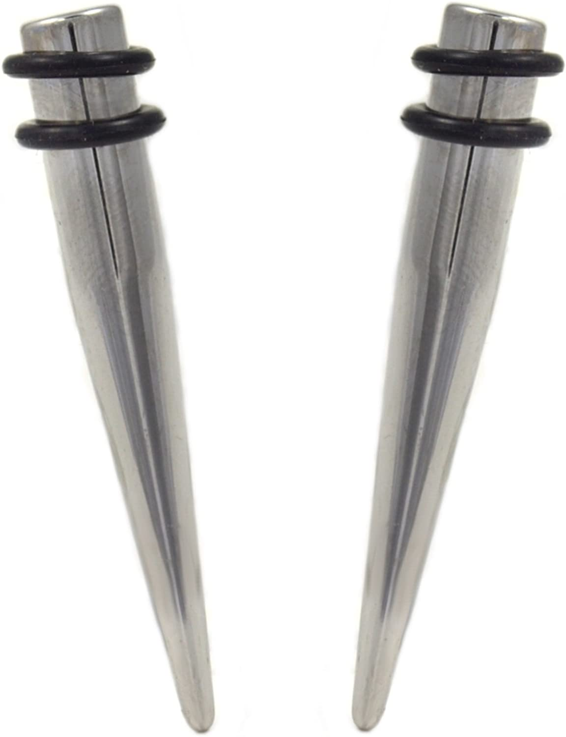 BYB Plugs Pair of Stainless Steel Straight Piercing Tapers Ear Stretching Jewelry - 1 Gauge(1G-7mm)