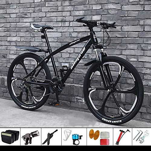 DelongKe 26 Zoll Mountainbike, Geeignet Ab 160 cm, Scheibenbremse, 30 Gang-Schaltung, Gabel-Federung, Jungen-Fahrrad & Herren-Fahrrad,Schwarz,Six Cutter Wheel